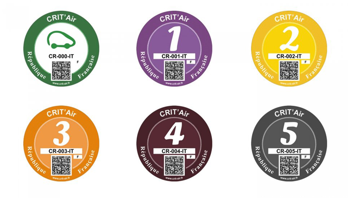 The 6 categories of Crit'Air stickers needed in some French cities