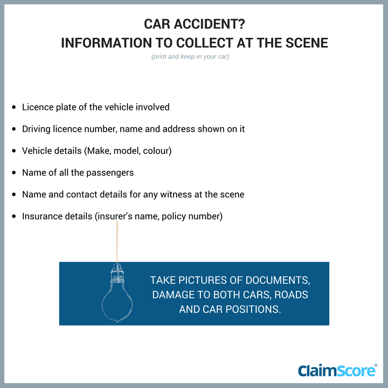 List of details to collect at the scene when you have a car accident